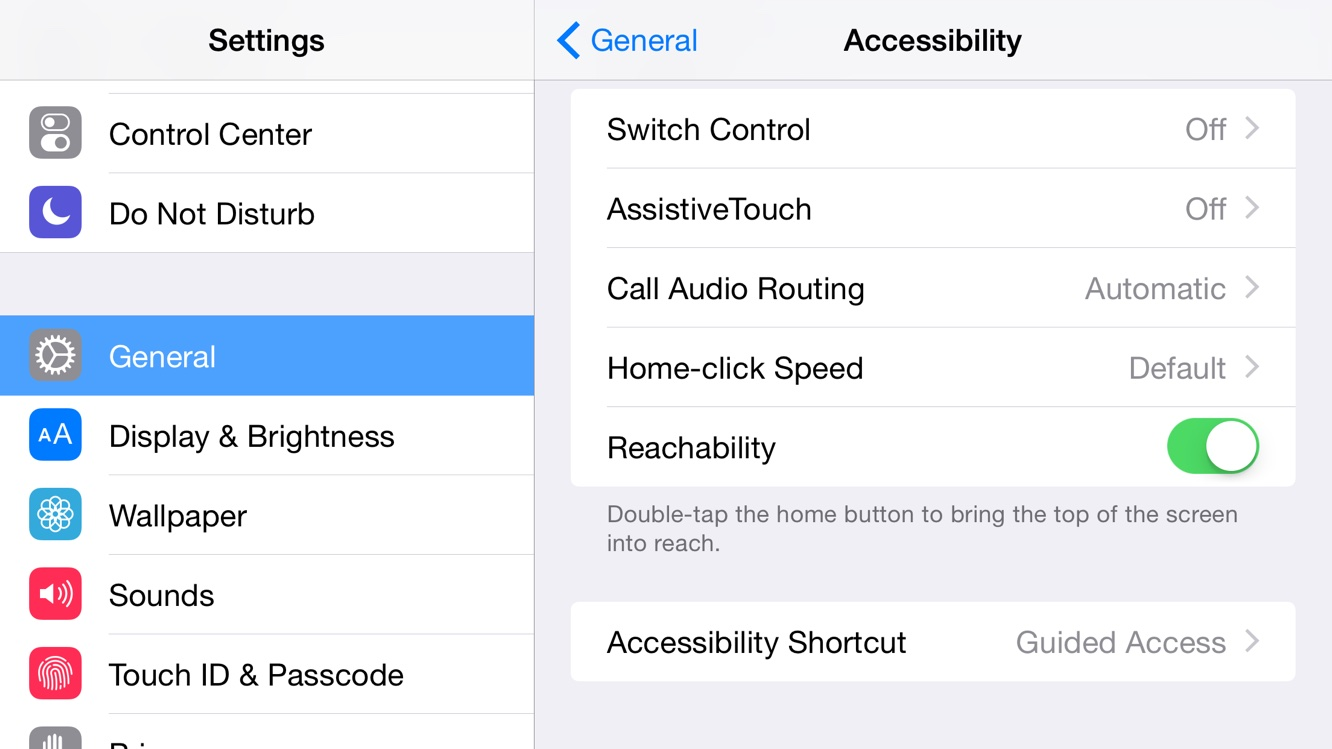 How do I turn off Reachability on the iPhone 6 Plus? 1