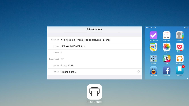 How do I cancel a print job on iOS? 1