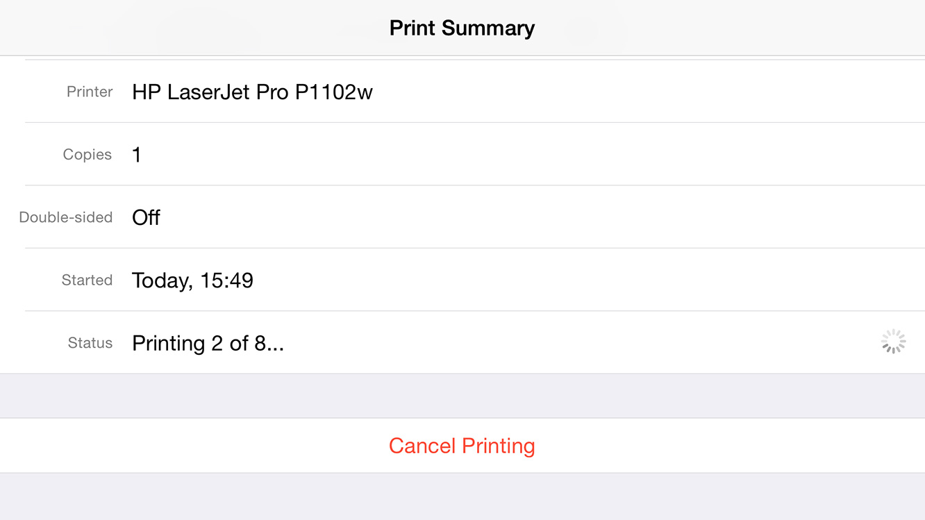 How do I cancel a print job on iOS?