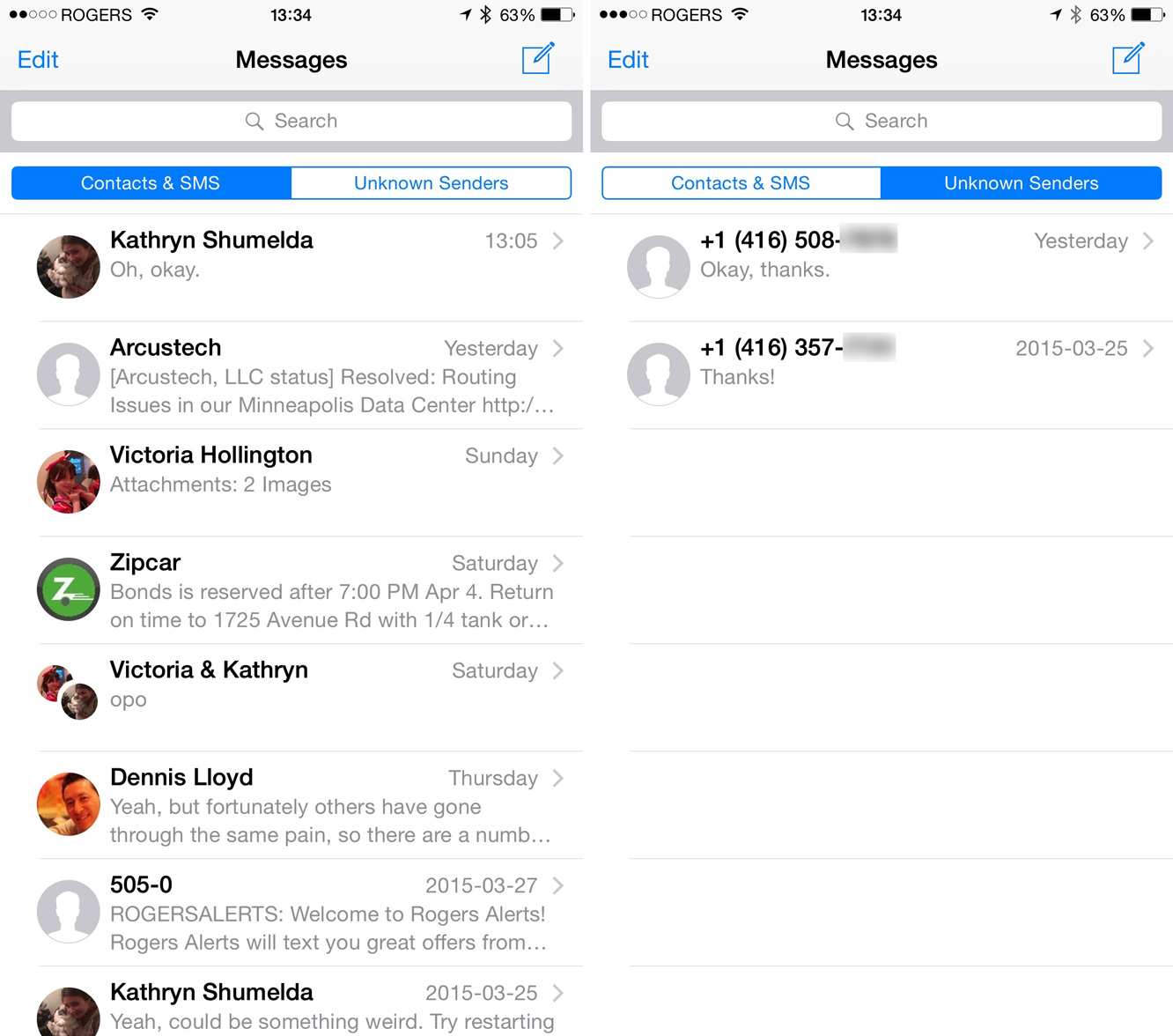 Filtering iMessages from unknown senders in iOS 8.3