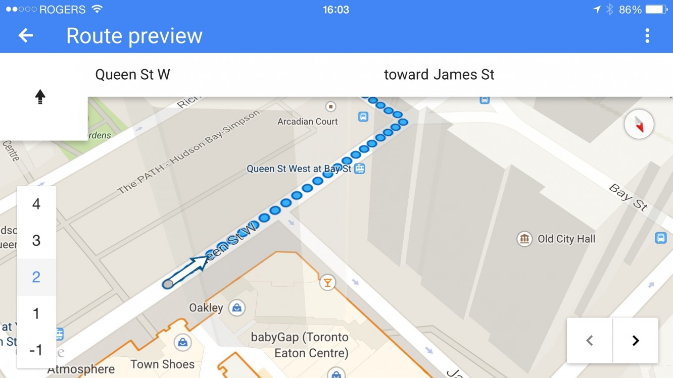 Getting haptic feedback for walking directions in Google Maps on