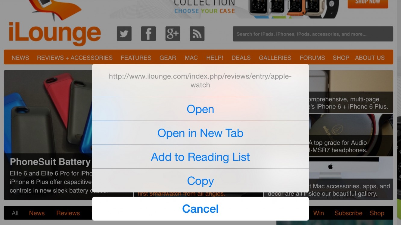 Previewing Link URLs in Safari