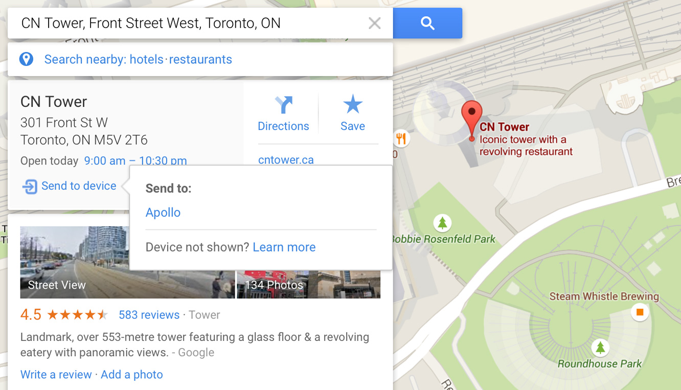 Sending locations from your desktop to your iPhone in Google Maps 1