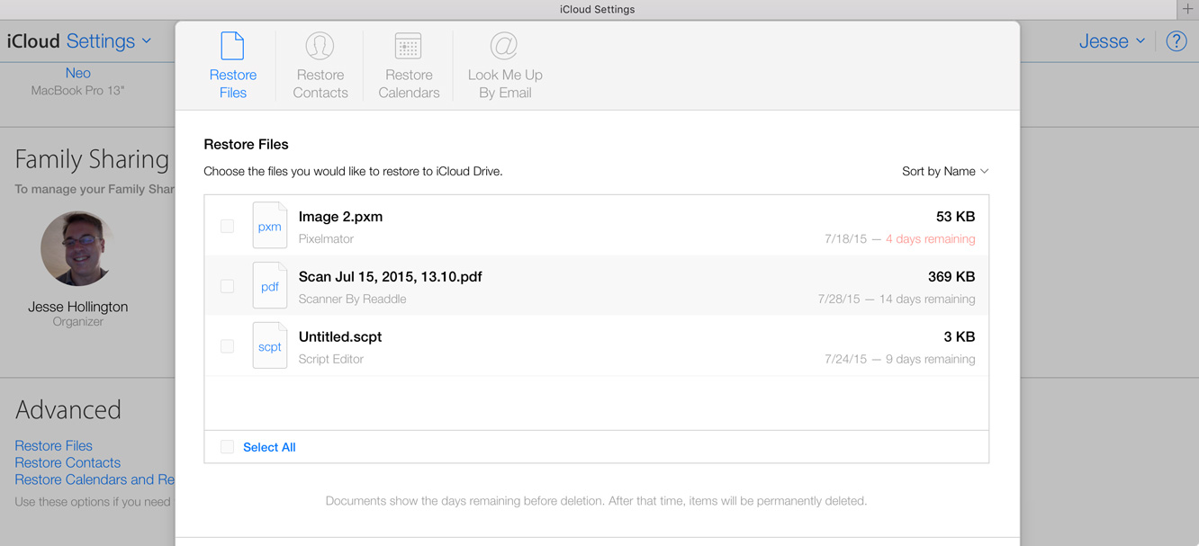 Restoring Files, Contacts, and Calendars in iCloud 1