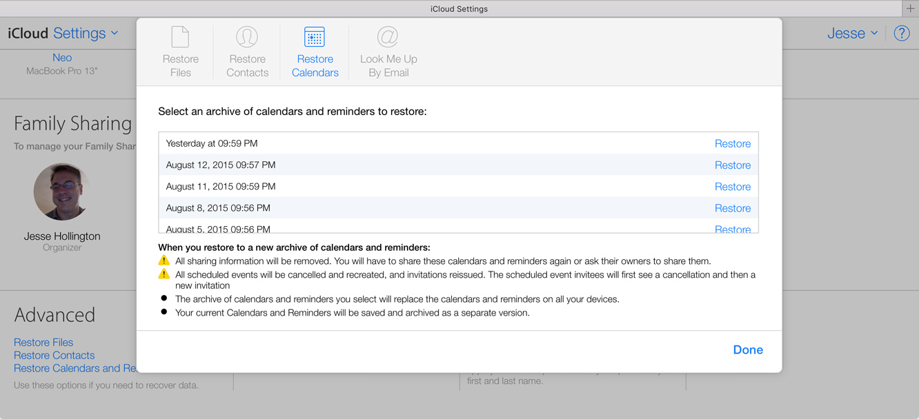 Restoring Files, Contacts, and Calendars in iCloud 2