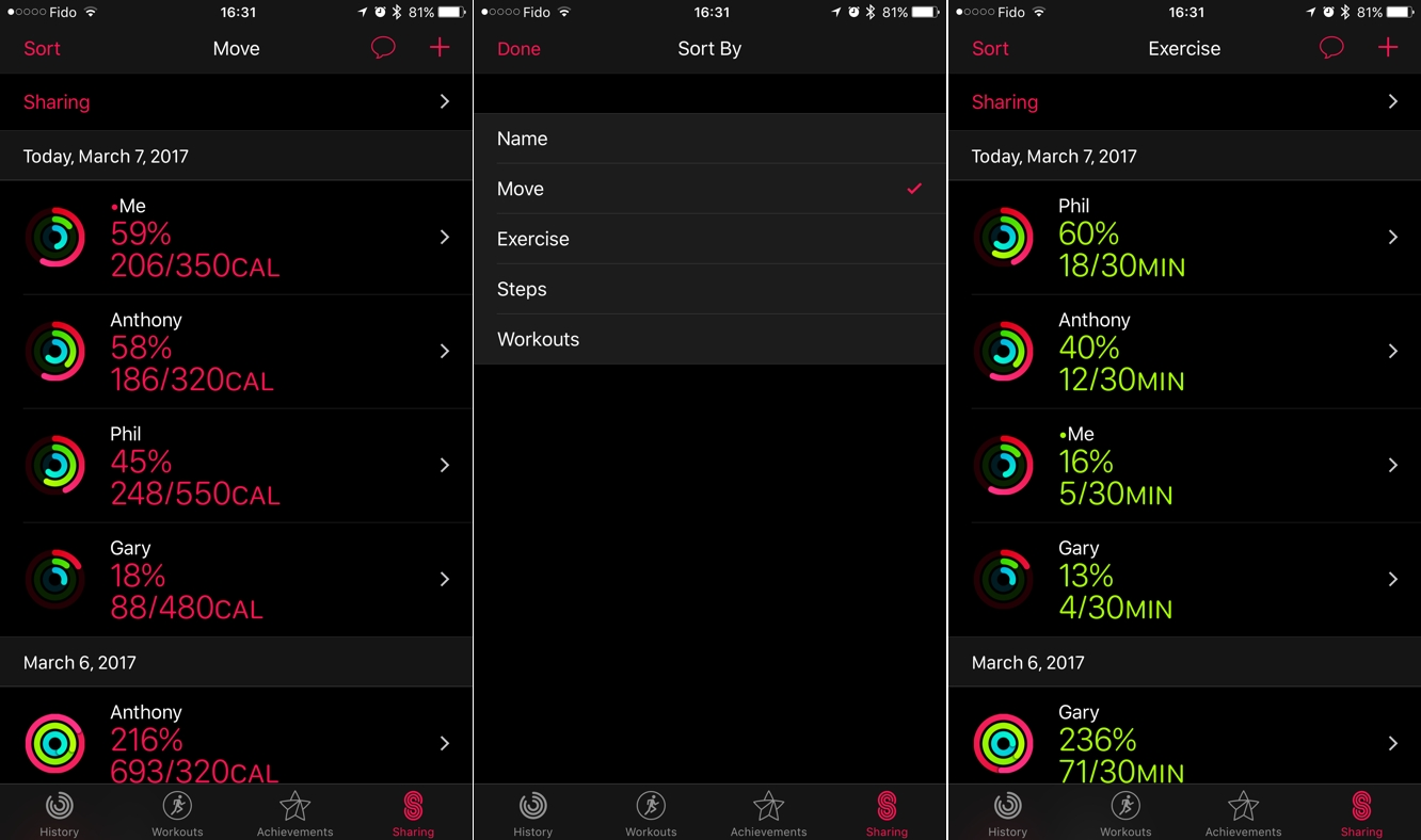 Sorting your Friends' Apple Watch Activity