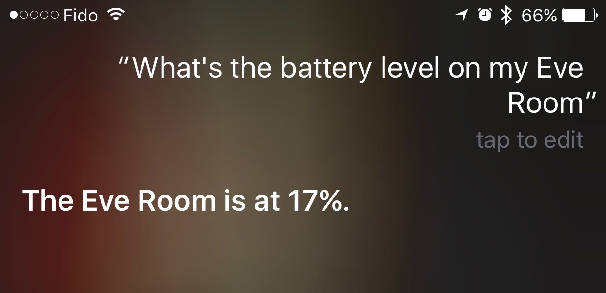 Checking HomeKit accessory battery levels with Siri