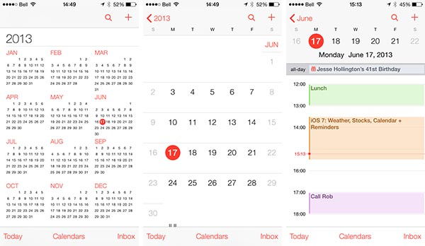 iOS 7: Weather, Stocks, Calendar + Reminders