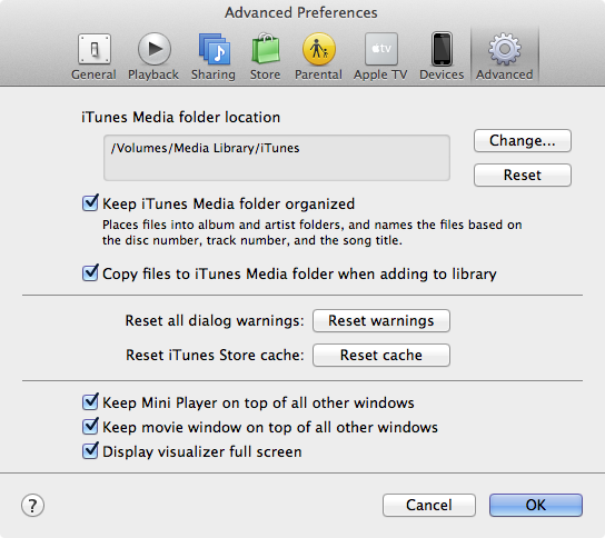Opening iTunes library from external hard drive