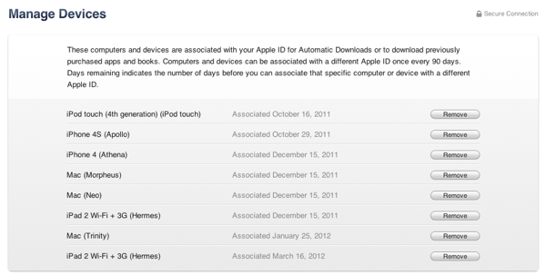Managing Devices in your iTunes Store Account 1