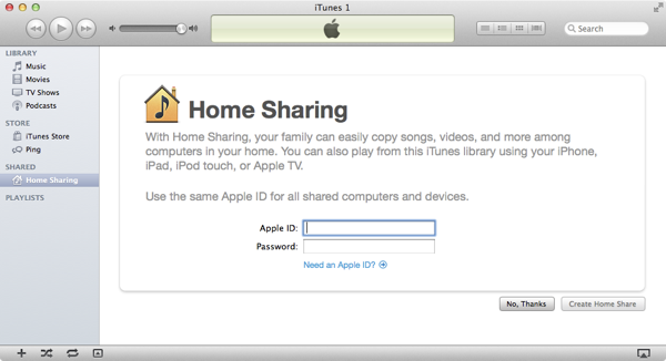 Sharing an iTunes Library around the house