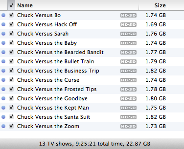 iTunes TV show size totals don't match actual disk storage 1