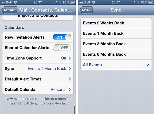 Disappearing iPhone Calendar events