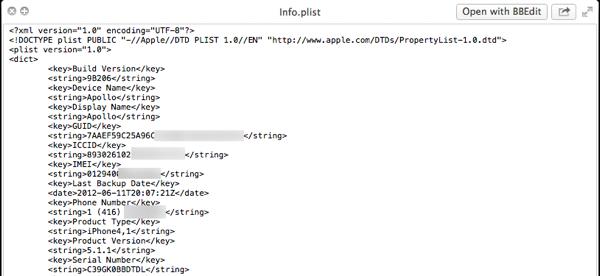 Identifying iOS Device Backups