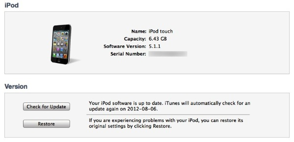 Restoring iPod touch after forgotten passcode 3