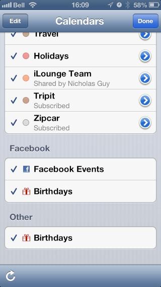 Facebook Contact and Calendar Integration in iOS 6