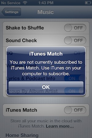 Subscribing to iTunes Match with an iPhone music library 1