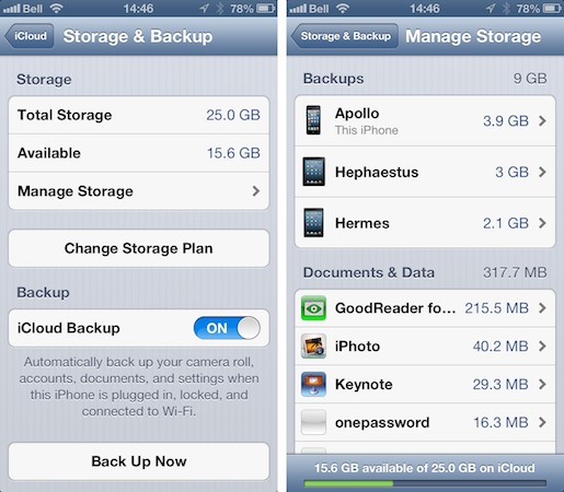 Restoring from a previous iCloud backup