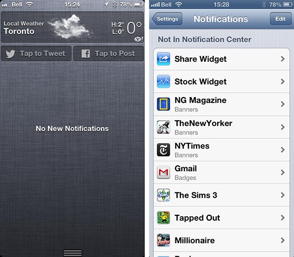 Post to Facebook option in Notification Center 1