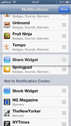 Post to Facebook option in Notification Center