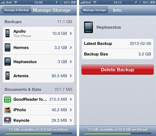 Deleting backups made under another iCloud ID 3