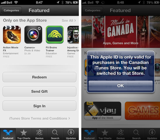 iTunes Store on iPhone set to wrong country