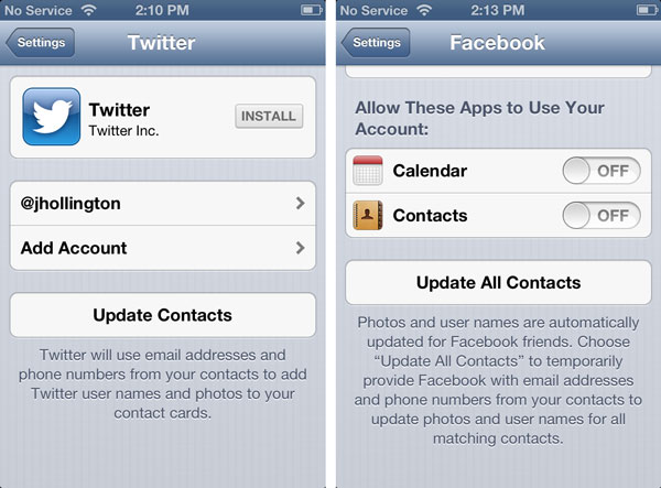 Updating Contacts with Twitter and Facebook info 1