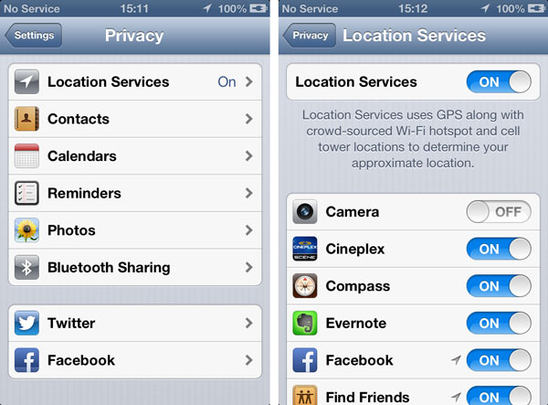 iOS Camera app and Location Services 2