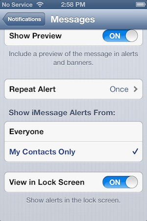 Receiving Message Notifications from only your Contacts