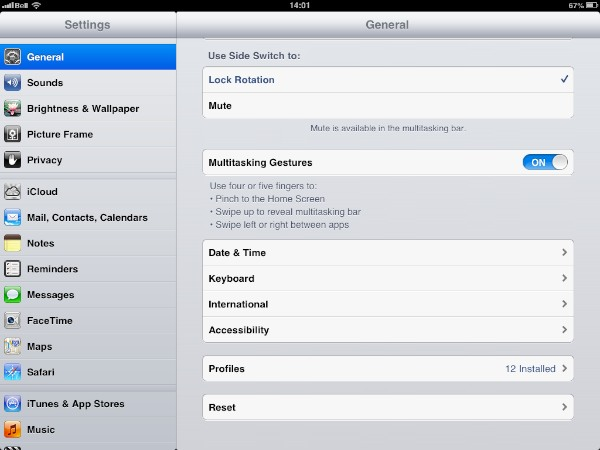 Changing the iPad switch function
