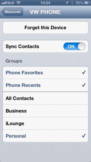 Managing Bluetooth Contact Sync