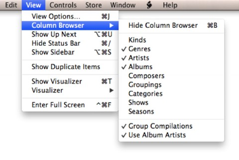 Filtering Playlists with the Column Browser 1