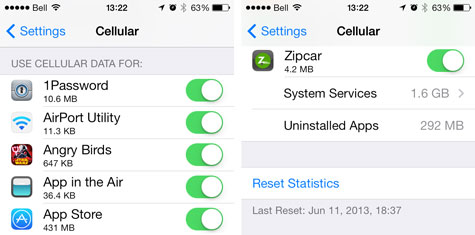 iOS 7: Monitoring and Controlling Cellular Data Use 1