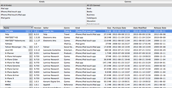 Sorting and Filtering Apps in iTunes 1