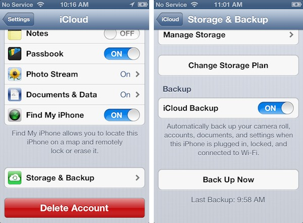 Accessing an older iCloud backup 1