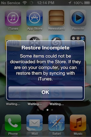 Restoring missing apps after an incomplete iCloud restore