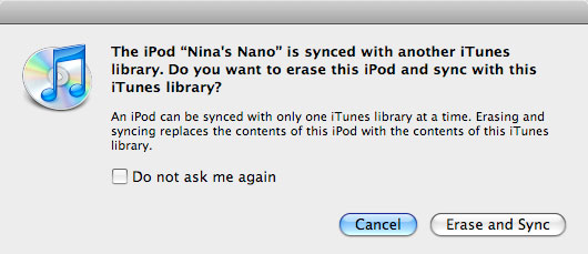 Syncing iPod with new iTunes library
