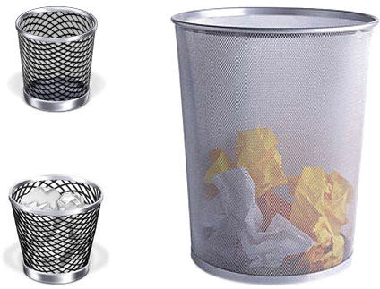 The Container Store Silver Mesh Wastebasket