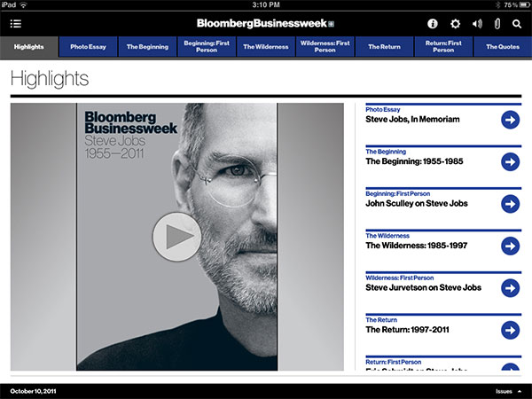 iPad Gems: Steve Jobs Editions Of Bloomberg Businessweek+, Fortune, Time + Wired 1