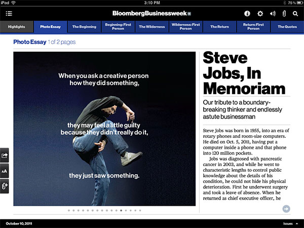 iPad Gems: Steve Jobs Editions Of Bloomberg Businessweek+, Fortune, Time + Wired 3