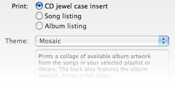 Printing CD Covers and Lists in iTunes