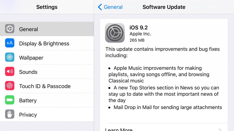 Apple releases iOS 9.2, watchOS 2.1