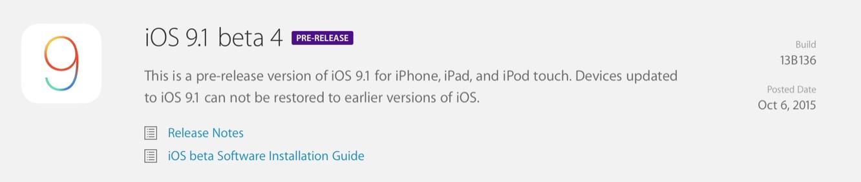 Apple releases fourth iOS 9.1 beta, third tvOS beta to developers 1