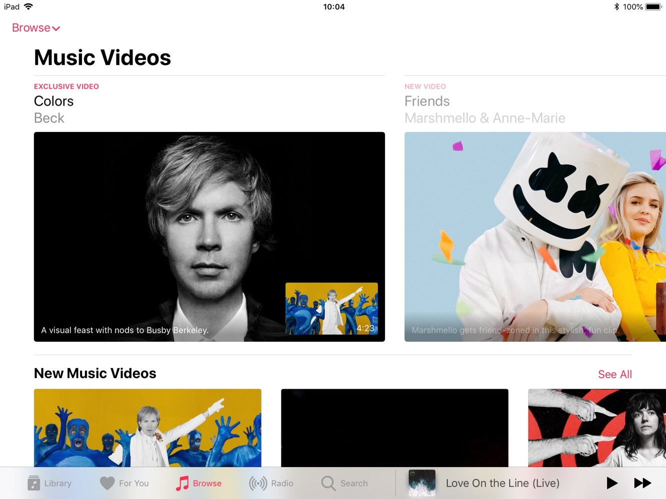 Apple's new 'Music Videos' section now online