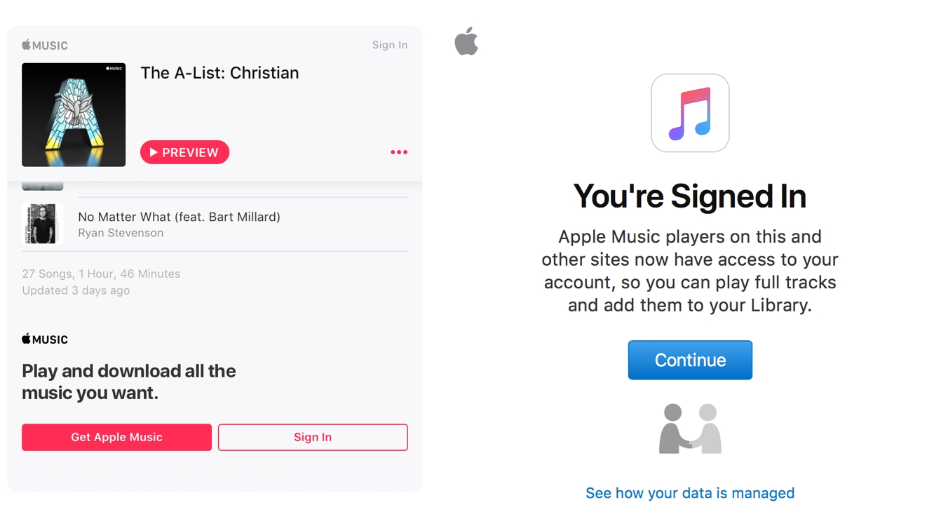 Apple Music adds sign-in support to embeddable web player