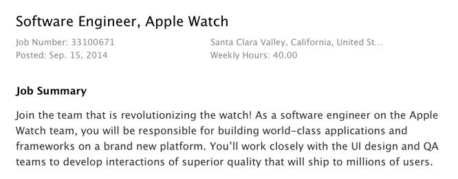 Apple names Apple Watch execs, now hiring others