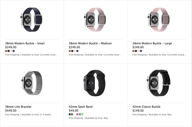 Apple Watch bands also experiencing delayed shipping times