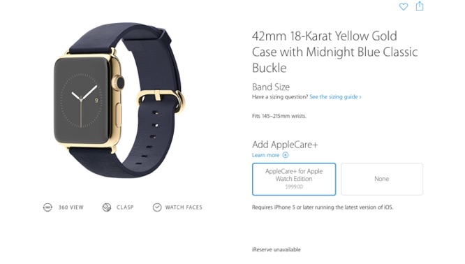 AppleCare+ for Apple Watch to cost $59 for Sport, $79 for Watch, $999 for Edition