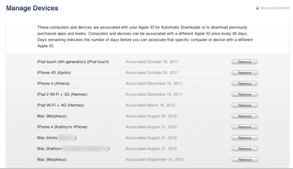 Removing Devices from iTunes in the Cloud