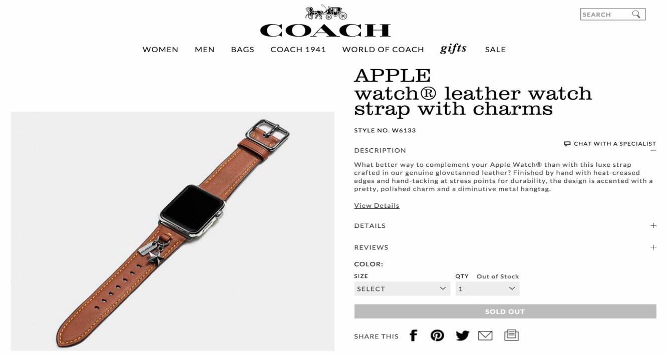 Coach bands for Apple Watch found on company's site
